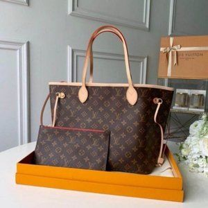 NWT LV Neverfull Mm Monogram Brown Leather Tote